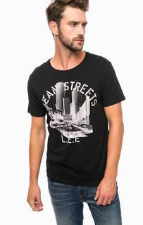 Черная хлопковая футболка спринтом Lee