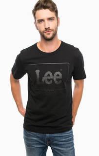 Черная футболка с короткими рукавами и принтом Lee