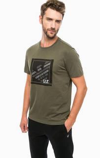 Хлопковая футболка цвета хаки EA7