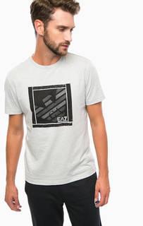 Хлопковая футболка с контрастным принтом EA7