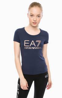 Хлопковая футболка с декоративной отделкой EA7