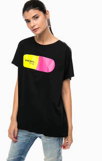 Хлопковая футболка с необработанными краями Diesel