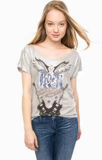 Серебристая футболка из вискозы с принтом Gas