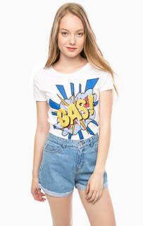 Белая футболка из хлопка с принтом Gas