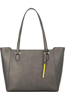 Серая сумка из сафьяновой кожи на молнии Cromia