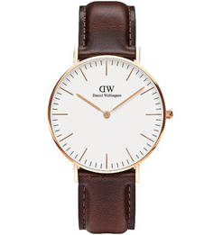 Кварцевые часы с коричневым кожаным ремешком Daniel Wellington