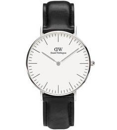 Кварцевые часы с черным кожаным ремешком Daniel Wellington
