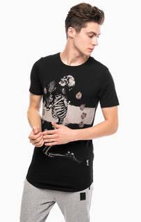 Черная футболка из хлопка с принтом Religion