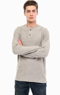 Серая хлопковая футболка с длинными рукавами Jack & Jones