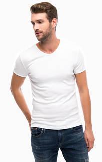 Белая хлопковая футболка с треугольным вырезом Mavi