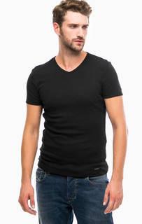 Черная хлопковая футболка с круглым вырезом Mavi