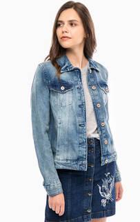 Джинсовая куртка с вышивкой и нашивками на спине Tom Tailor Denim