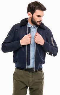 Синяя куртка на молнии с нашивками Replay