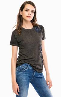 Хлопковая футболка с отделкой пайетками Replay