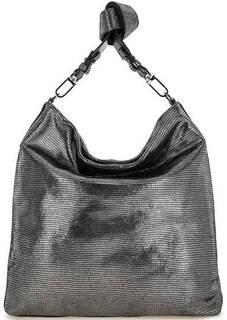 Серебристая кожаная сумка с одним отделом Gianni Chiarini