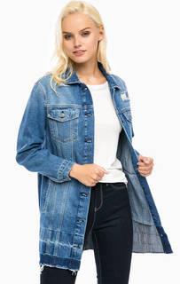 Удлиненная джинсовая куртка с потертостями Mavi