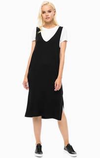 Черное платье-сарафан с разрезами Mavi
