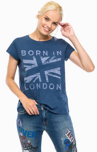 Синяя хлопковая футболка