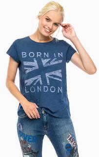Синяя хлопковая футболка Pepe Jeans