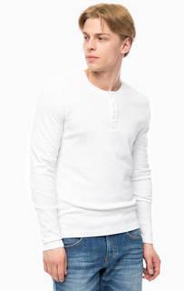 Белая футболка с вырезом на пуговицах Mustang