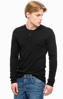 Черная футболка с вырезом на пуговицах Mustang