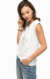 Белая хлопковая футболка с принтом Mustang
