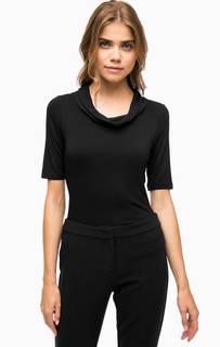Черная футболка с шифоновым воротом More & More