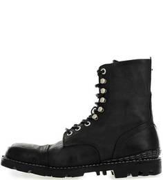 Черные ботинки из натуральной кожи на шнуровке Diesel