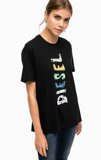 Хлопковая футболка оверсайз с принтом Diesel