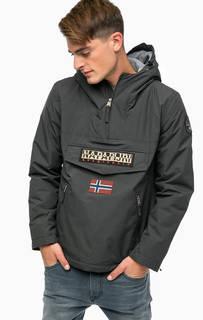 Серая утепленная куртка с карманами и капюшоном Napapijri