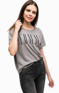 Серая футболка свободного кроя Hilfiger Denim
