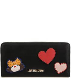 Черный кошелек с нашивками и вышивкой Love Moschino