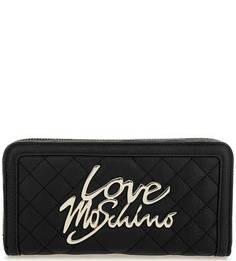 Черный стеганый кошелек на молнии Love Moschino