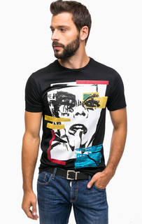 Черная футболка с ярким принтом Antony Morato