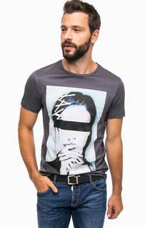 Серая футболка с ярким принтом Antony Morato