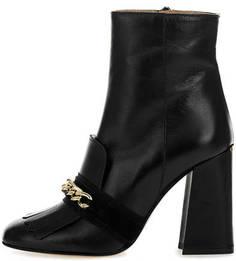 Черные кожаные полусапоги на высоком каблуке Liu Jo