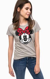 Серая хлопковая футболка с декором Liu Jo