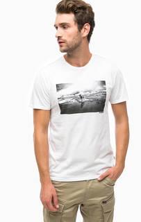 Белая футболка с принтом Napapijri