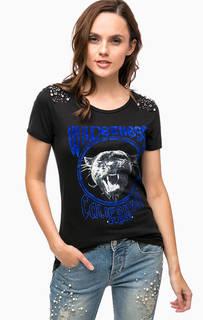 Хлопковая футболка с декоративной отделкой Guess