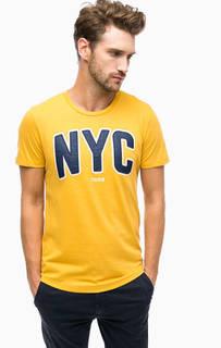 Хлопковая футболка с нашивками и принтом Tom Tailor Denim