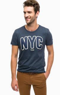 Синяя футболка с принтом и нашивками Tom Tailor Denim