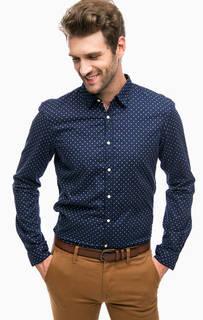 Синяя хлопковая рубашка в горошек Tom Tailor Denim