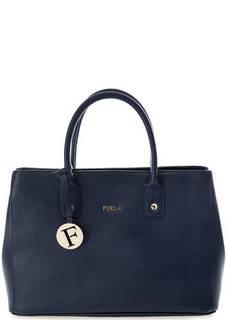 Синяя сумка из сафьяновой кожи Furla