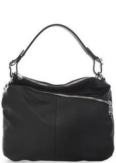 Черная кожаная сумка с двумя отделами Fiato