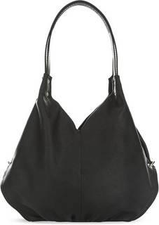 Черная кожаная сумка с тремя отделами Fiato