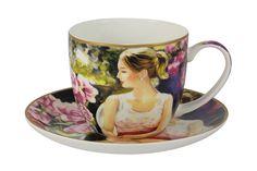 """Чашка с блюдцем """"Девушка с книгой"""" Carmani"""