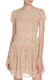 Платье с маленькими рюшками Valentino Red