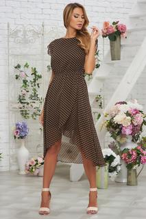Шифоновое платье в горох с ассиметричным низом Vittoria Vicci