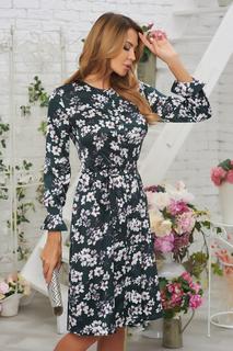 Шелковое платье с поясом и цветочным принтом Vittoria Vicci