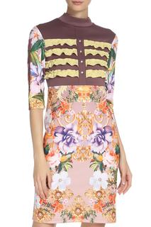 Принтованное платье средней длины с рюшами Adzhedo